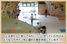 ひと目見たら「登ってみたい!」と思っていただけるような、デザイン性に優れた壁を用意しています。